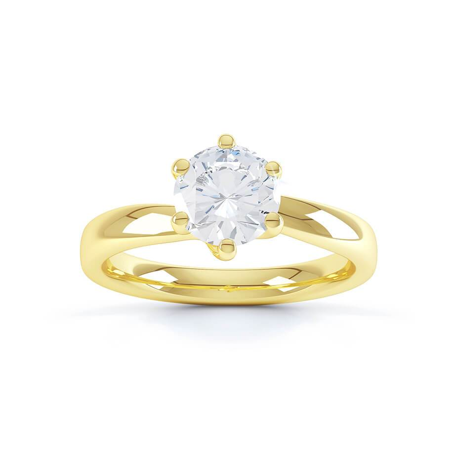 OLIVIA - Round Moissanite 18k Yellow Gold Twist Solitaire Ring Engagement Ring Lily Arkwright