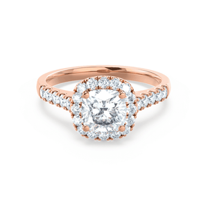 OPHELIA - Charles & Colvard Moissanite Cushion Cut 18k Rose Gold Halo Ring