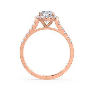 Lily Arkwright Engagement Ring OPHELIA - Charles & Colvard Moissanite Cushion Cut 18k Rose Gold Halo Ring