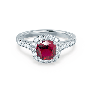 OPHELIA - Lab Grown Red Ruby & Diamond Platinum Halo Ring Engagement Ring Lily Arkwright