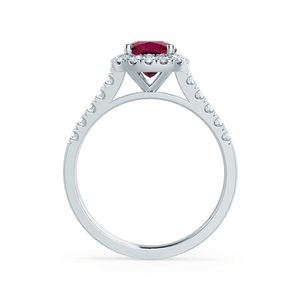 OPHELIA - Lab Grown Red Ruby & Diamond 18K White Gold Halo Ring Engagement Ring Lily Arkwright
