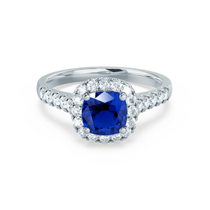 OPHELIA - Lab Grown Blue Sapphire & Diamond 18K White Gold Halo Engagement Ring Lily Arkwright
