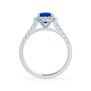 Lily Arkwright Engagement Ring OPHELIA - Lab Grown Blue Sapphire & Diamond Platinum Halo