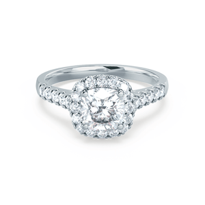 OPHELIA - Cushion Moissanite & Diamond 18k White Gold Halo Ring Engagement Ring Lily Arkwright