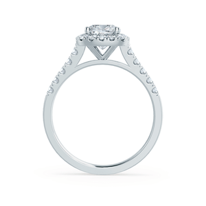 Lily Arkwright Engagement Ring OPHELIA - Charles & Colvard Moissanite Cushion Cut 18k White Gold Halo Ring
