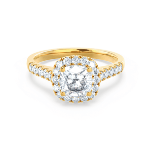 Lily Arkwright Engagement Ring OPHELIA - Charles & Colvard Moissanite Cushion Cut 18k Yellow Gold Halo Ring
