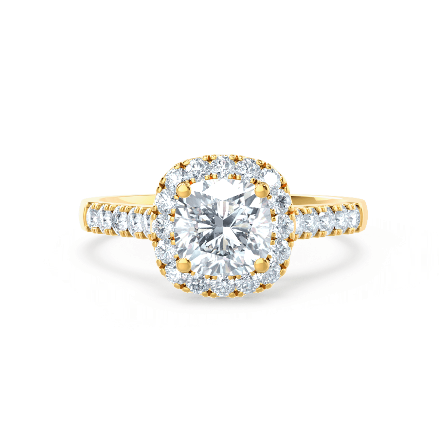Ophelia Charles & Colvard Moissanite Cushion Cut 18k Yellow Gold Halo Ring