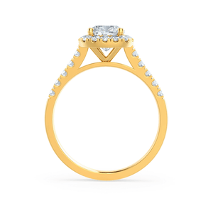 OPHELIA - Cushion Moissanite & Diamond 18k Yellow Gold Halo Ring Engagement Ring Lily Arkwright