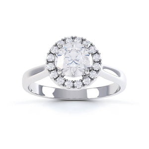 ORABELLA - Round Moissanite & Diamond 950 Platinum Halo Ring Engagement Ring Lily Arkwright