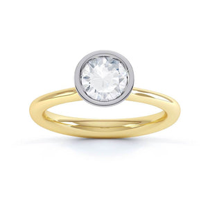 Lily Arkwright Engagement Ring PRIMROSE - Bezel Edged Charles & Colvard Forever One 18k Two Tone Gold Solitaire