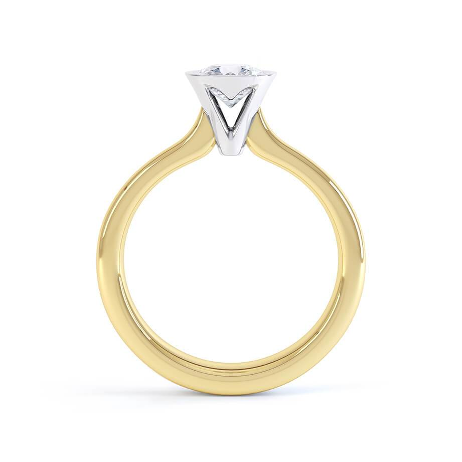 Primrose Bezel Edged Charles & Colvard Forever One 18k Two Tone Gold Solitaire