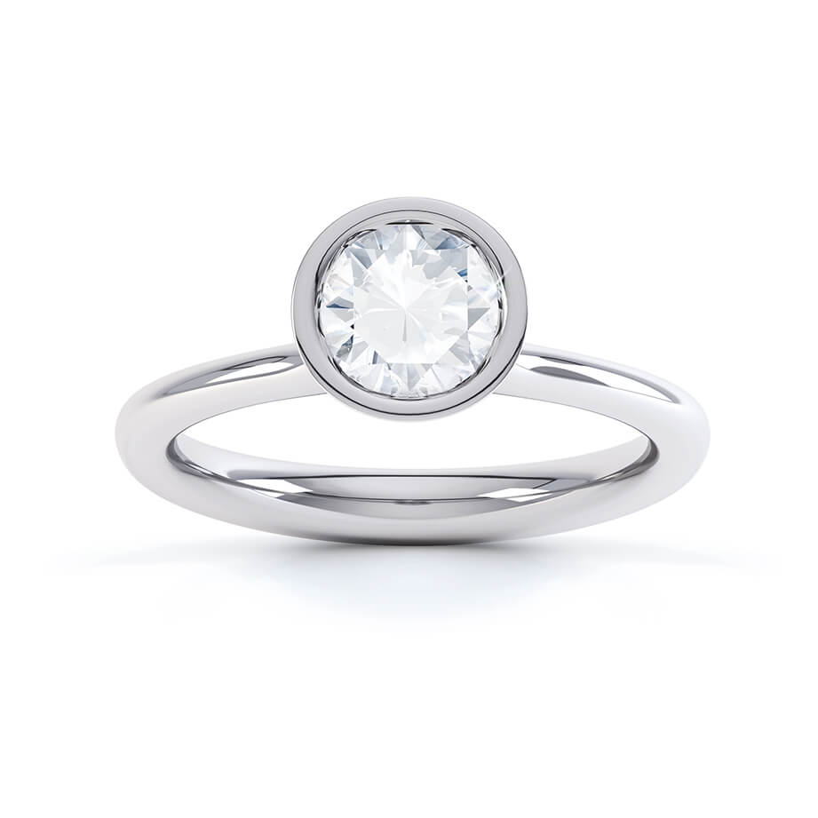 PRIMROSE - Round Moissanite 950 Platinum Bezel Edged Solitaire Ring Engagement Ring Lily Arkwright
