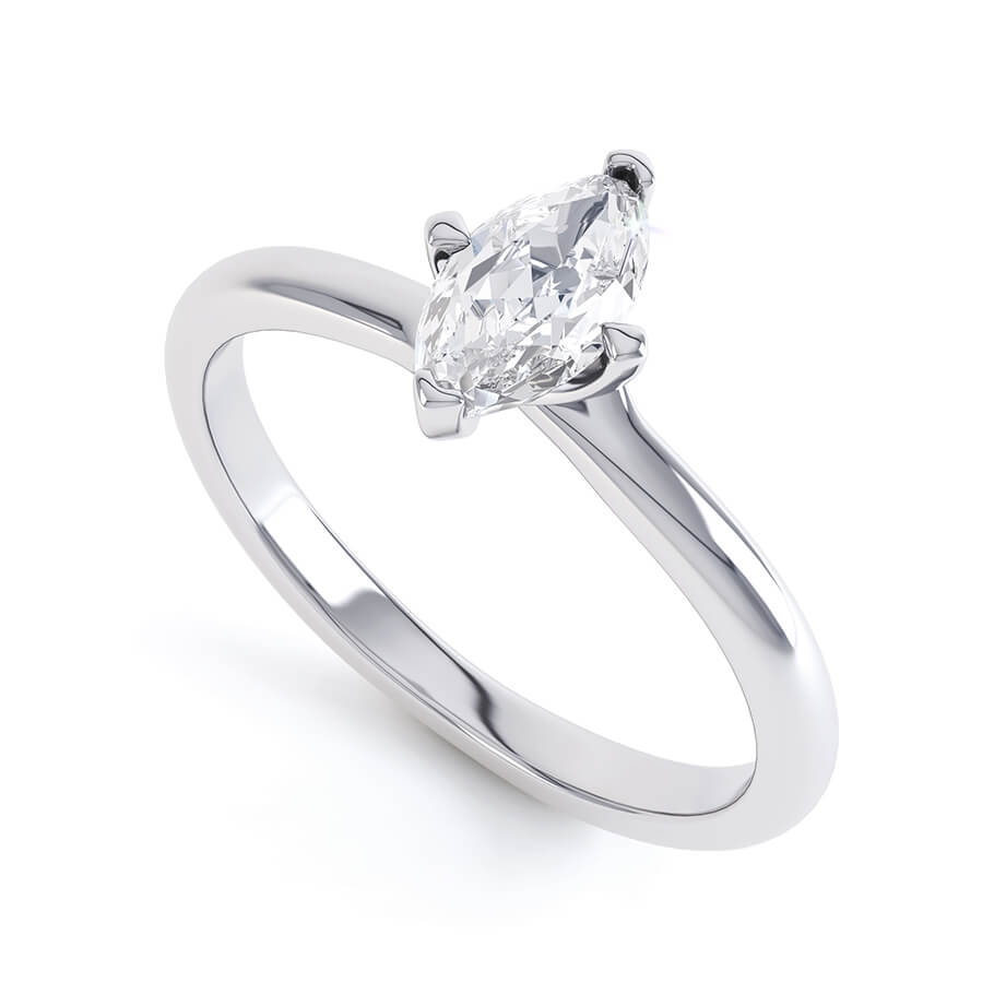 Raven Twist Marquise Charles & Colvard Forever One Platinum Solitaire
