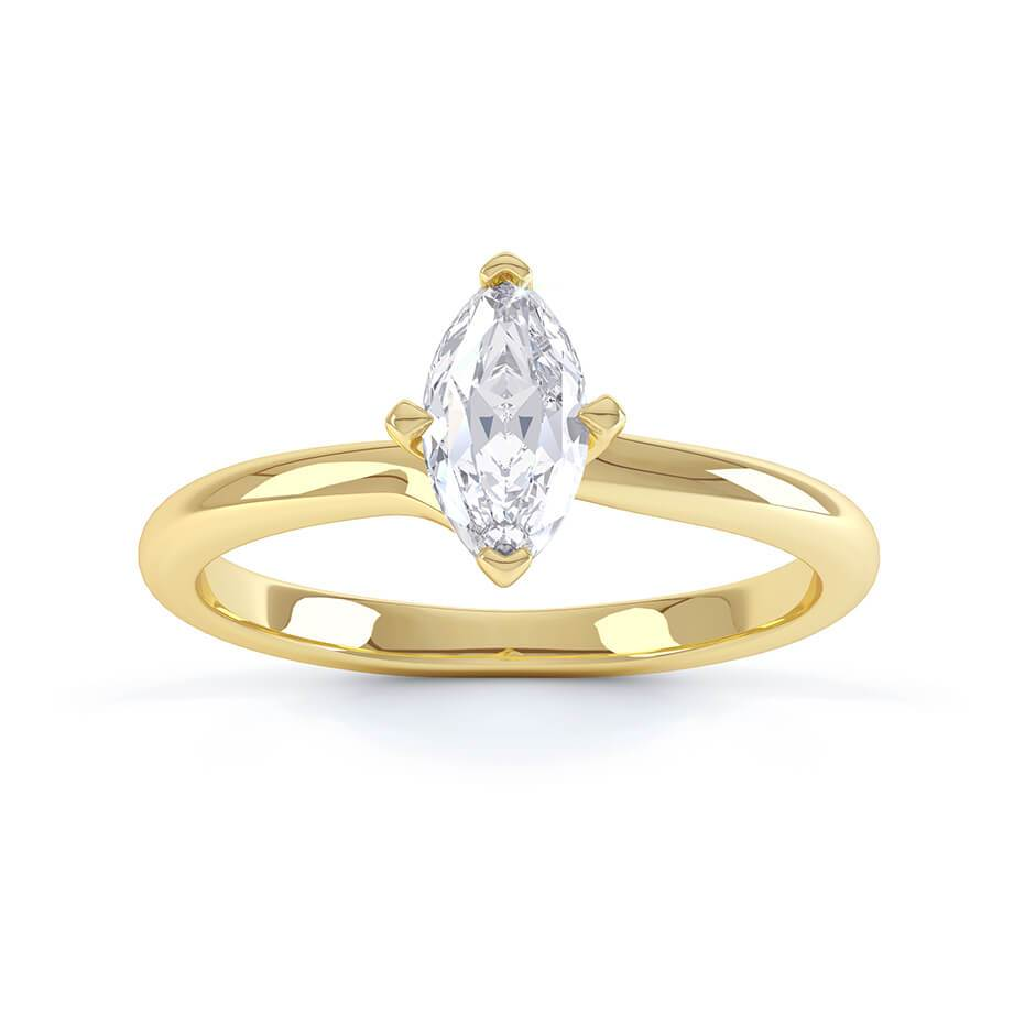 Raven Twist Marquise Charles & Colvard Forever One 18k Yellow Gold Solitaire