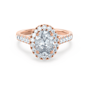 Lily Arkwright Engagement Ring ROSA - Charles & Colvard Moissanite & Diamond 18k Rose Gold Halo Ring