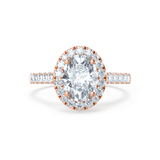 ROSA - Charles & Colvard Moissanite & Diamond 18k Rose Gold Halo Ring