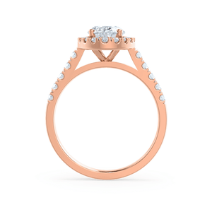 ROSA - Oval Moissanite & Diamond 18k Rose Gold Halo Ring Engagement Ring Lily Arkwright