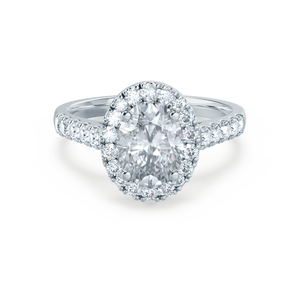 Lily Arkwright Engagement Ring ROSA - Charles & Colvard Moissanite & Diamond 18k White Gold Halo Ring