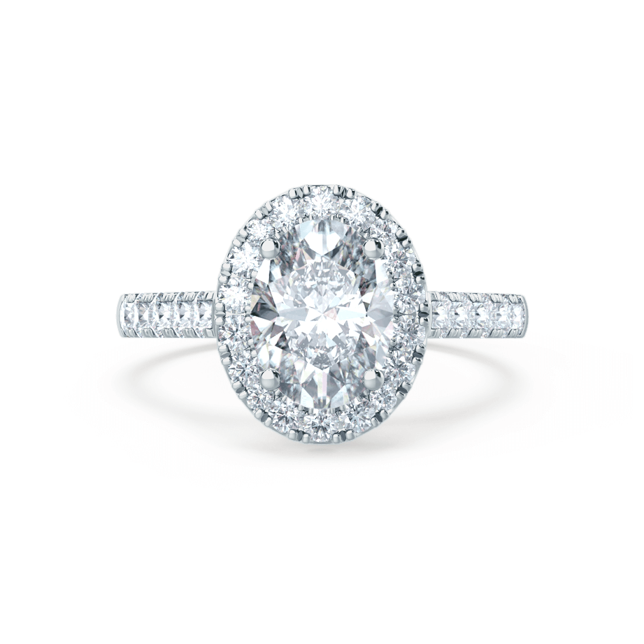 ROSA - Charles & Colvard Moissanite & Diamond 18k White Gold Halo Ring