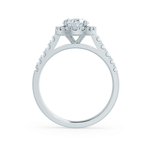 Lily Arkwright Engagement Ring ROSA - Charles & Colvard Moissanite & Diamond Platinum Halo Ring