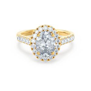 Lily Arkwright Engagement Ring ROSA - Charles & Colvard Moissanite & Diamond 18k Yellow Gold Halo Ring
