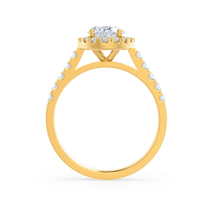ROSA - Charles & Colvard Moissanite & Diamond 18k Yellow Gold Halo Ring