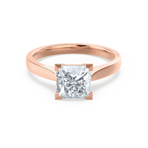 ROSALEE - Charles & Colvard Moissanite 18k Rose Gold Princess Solitaire Ring