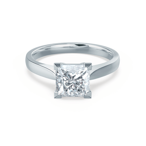 ROSALEE - Charles & Colvard Moissanite Platinum Princess Solitaire Ring