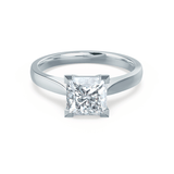 ROSALEE - Charles & Colvard Moissanite 18k White Gold Princess Solitaire Ring