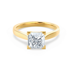 ROSALEE - Charles & Colvard Moissanite 18k Yellow Gold Princess Solitaire Ring