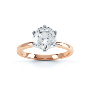 SERENITY - Round Moissanite 18k Two Tone Rose Gold Solitaire Ring Engagement Ring Lily Arkwright