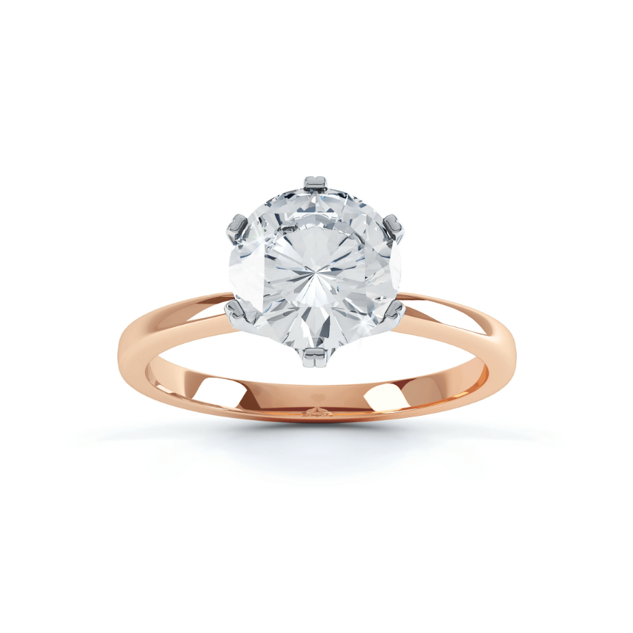 SERENITY - Moissanite Two Tone 18K Rose Gold & Platinum Solitaire Ring