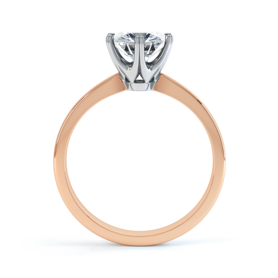 SERENITY - Round Moissanite Two Tone 18K Rose Gold & Platinum Solitaire Ring Engagement Ring Lily Arkwright