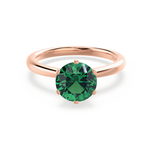 SERENITY - Chatham® Lab Grown Emerald 18k Rose Gold Solitaire Engagement Ring Lily Arkwright