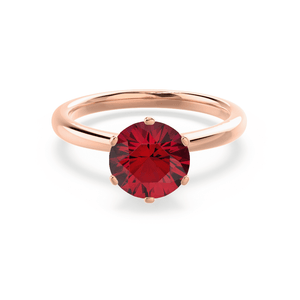 SERENITY - Chatham® Lab Grown Red Ruby 18k Rose Gold Solitaire Engagement Ring Lily Arkwright