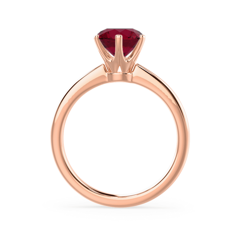 Serenity Chatham® Lab Grown Red Ruby 18k Rose Gold Solitaire