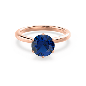 SERENITY - Chatham® Lab Grown Blue Sapphire 18k Rose Gold Solitaire