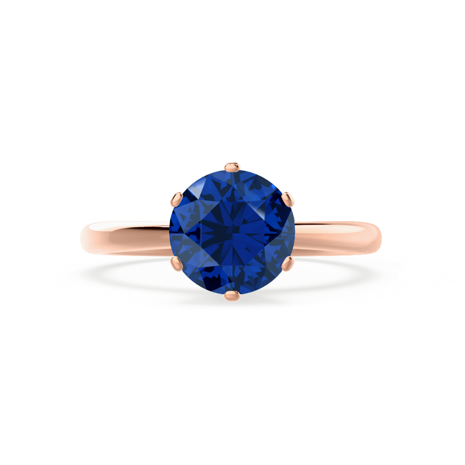 Serenity Chatham® Lab Grown Blue Sapphire 18k Rose Gold Solitaire