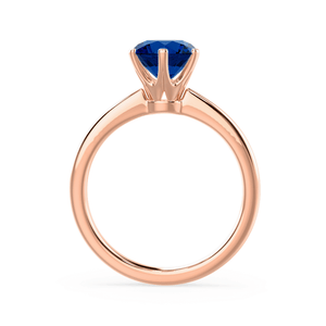 SERENITY - Chatham® Lab Grown Blue Sapphire 18k Rose Gold Solitaire Engagement Ring Lily Arkwright