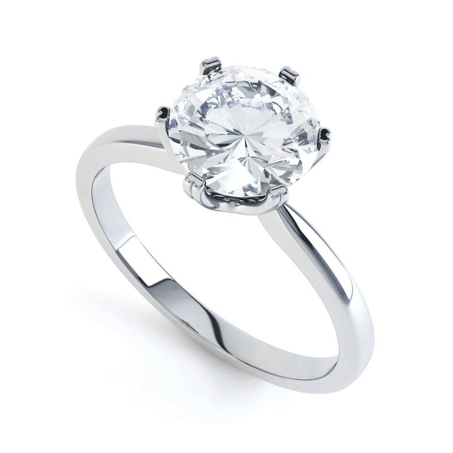 SERENITY - Moissanite 18k White Gold Solitaire Ring