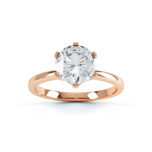 SERENITY - Round Moissanite 18k Rose Gold Solitaire Ring Engagement Ring Lily Arkwright