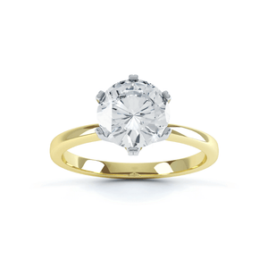 SERENITY - Round Moissanite 18k Two Tone Yellow Gold Solitaire Ring Engagement Ring Lily Arkwright