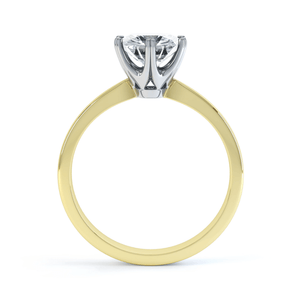 SERENITY - Moissanite 18k Two Tone Yellow Gold Solitaire Ring