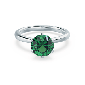 SERENITY - Lab Grown Emerald 18k White Gold Solitaire Engagement Ring Lily Arkwright