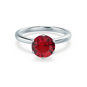 Lily Arkwright Engagement Ring SERENITY - Lab Grown Red Ruby 18k White Gold Solitaire