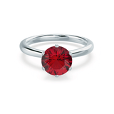 Serenity Lab Grown Red Ruby 18k White Gold Solitaire