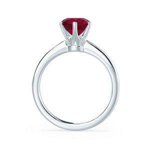 SERENITY - Lab Grown Red Ruby 18k White Gold Solitaire Engagement Ring Lily Arkwright