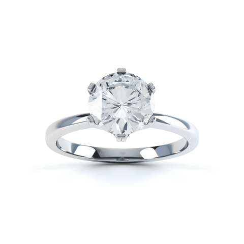 SERENITY - Round Moissanite 18k White Gold Solitaire Ring Engagement Ring Lily Arkwright