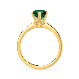 SERENITY - Chatham® Lab Grown Emerald 18k Yellow Gold Solitaire Engagement Ring Lily Arkwright
