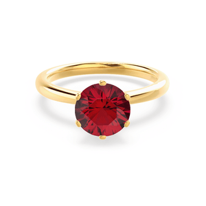 Lily Arkwright Engagement Ring SERENITY - Chatham® Lab Grown Red Ruby 18k Yellow Gold Solitaire